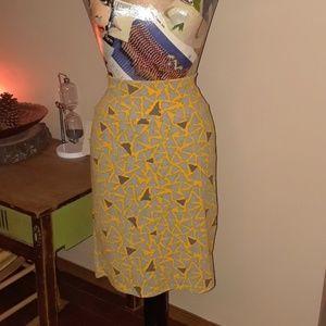 Lularoe Yellow triangle Cassie pencil skirt